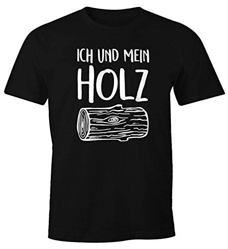 Herren T-Shirt Ich und mein Holz Fun-Shirt Moonworks® schwarz 3XL