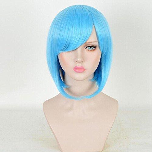 MäDchen Blau BoBo Kopf PerüCke Cosplay Kurzes Haar Gerade PerüCke (Für Mädchen Folk Kostüm Tanz)