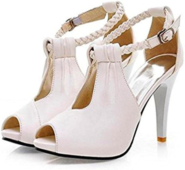 Sandalias Peep Toe De La Moda De Las Mujeres Bombas De Cuña Strappy High Heels Platform Party Shoes Tamaño EU39/245|Black