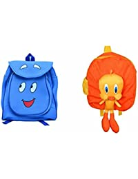 Pratham Enterprises Combo Of Blue Smile Bag And Yellow Duck Soft Toy Bag ( Pack Of 2 )