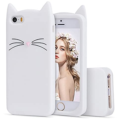 iPhone 5s Silicone Case,Imikoko™ Slim-Fit Anti-Scratch Shockproof Soft Silicone Case With Cute Cat Pattern for iPhone SE/5s/5 (4 inch) (White)