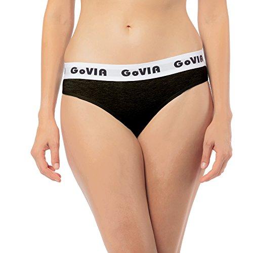 Tiefer Bund (6er Pack GoVIA Damen Bikinislip Slips tiefer Bund aus Baumwolle mit breitem Gummizug 3922 schwarz- Gr. 34 (XS))