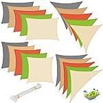 EUGAD 2X Sonnensegel Rechteck 2x3m Sonnenschutz UV Schutz für Garten Balkon Terrasse Sonnendach HDPE atmungsaktiv Sand