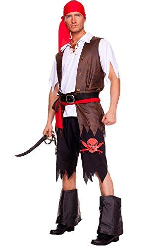 Aimerfeel Uomini costume costume da pirata in nero con top e pantaloni con anta e fazzoletto da collo e gilet, M