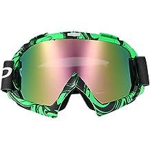 KKmoon Occhiali Moto Cross-Country Motocicletta del Gioco degli Occhiali da Cross-Country Vero Bicchierino Bicomponente a Membrana Semi-permeabile Occhiali Verde e Lenti a Colori, Colore 2