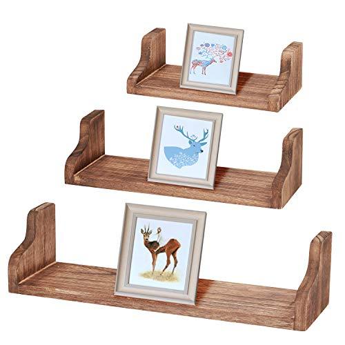 LIANTRAL NEX rustikale schwimmende Regale Holz Wandregale Set 3 Stück Duschbügel Bücherregal Dekor für Bad, Schlafzimmer, Wohnzimmer -