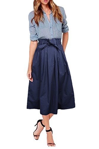 Uideazone Damen A Linie Maxi Rock Hohe Taille Gefaltete Elegant Cocktial Party Evening Röcke Lang Navy Blau