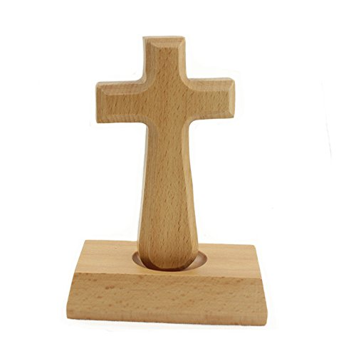 Buchenholz Stehend Christian Kreuz mit Magnetfuß Jesus Kruzifix aus Holz Kommunion Kreuz Tabletop Dekor für Home & Office (Rechteck)