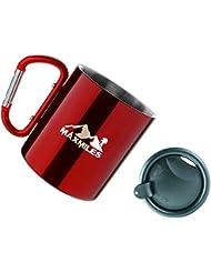 Taza de campamento MaxMiles, Taza de acampada ligera de acero inoxidable, Jarro de acero con mosquetón con tapa de 10lbs 300ml (rojo)