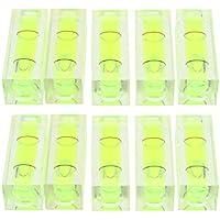 F Fityle 10 Stücke Mini-Wasserwaage Acryl Wasserwaage Klassik horizontale/vertikale Libelle, Schockabsorber rechteckig Wasserwaagen -Grün