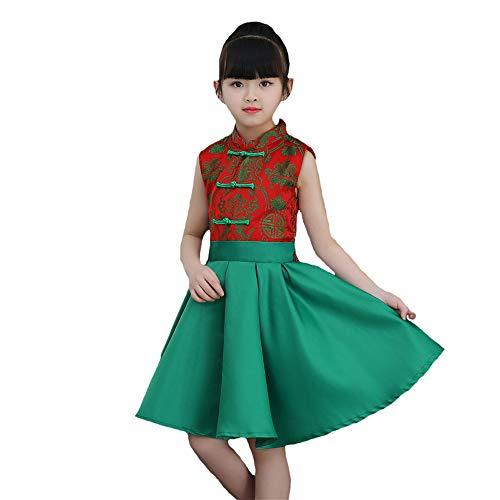 Tanz Kostüm Hop - HUO FEI NIAO Tanzkostüm - Mädchen Prinzessin Kleid Fluffy Rock Kindergarten Bib Hops Chor Kinder Tanz Performance Kostüm (Farbe : Grün, größe : 110cm)