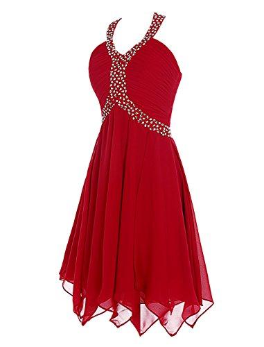 Find Dress Femme Sexy Robe Demoiselle d'Honneur Robe pour Soirée/Cocktail/Cérémonie Bustier Courte en Mousseline de Soie avec Sequins Corail