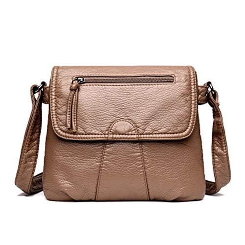 Schwarze Kleine Frauen Messenger Bag Weich Gewaschen PU-Leder Umhängetasche Weibliche Handtasche Geldbörsen (Color : Khaki, Size : 25cmX3cmX22cm) -