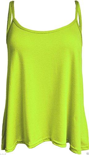 Damen New Cami Cami Uni Strappy Swing Weste Top Flared ärmellos Lime