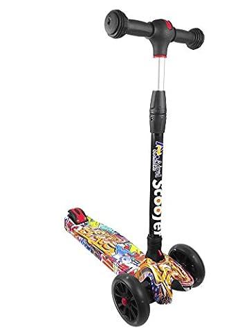 Scooter 3 Räder FALTBAR | Zwischen 2 und 14 Jahren | TWIST & ROLL. EINSTELLBAR | LED RÄDER ohne Batterien | FreeStyle Mini Roller