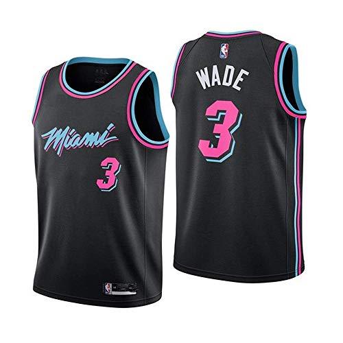 BEOOKSPOR Sport Jungen Basketball Fan Trikots NBA Trikot Miami Heat Wade # 3 Herren Basketball Trikot (Größe: S-XXL) S