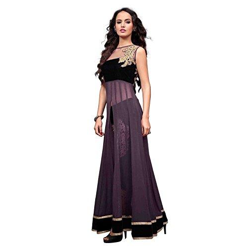 Isha Enterprise Women's Georgette Anarkali Suit(KFS700-2201_Black , Purple)