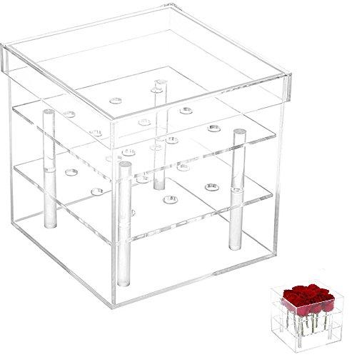 Klare Acryl-tabelle (Gosear 9 Loch Klar Acryl Rose Blume Feld Vase Halter Cube Topf Tabelle Dekoration für Hochzeit Partei)