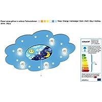 Lampe für Kinderzimmer mit Motiv Mond und Sonne mit Nachtlichtfunktion / Farbe: Blau (auch in anderen Farben erhältlich) Kinderzimmerlampe Kinderlampe Kinderlampen Deckenleuchte mit Motiv Kinderlampen Deckenleuchte