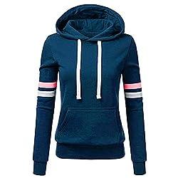TOPKEAL Frauen Hoodie Pullover Damen Kapuzenpullover Streifen Sweatshirt Winterpullover Langarm Jacke mit Kapuze Tasche Mantel Tops Blouse Pulli (A_Blau, XL)