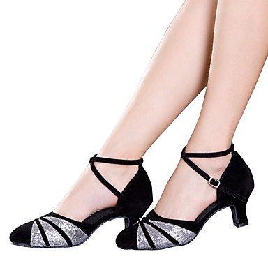 Silence @ Chaussures de danse pour femme en satin Latin/velours/paillettes/paillettes/synthétique de Cuba Heelblack/rouge/argenté/ Noir et argenté