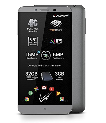 'Allview V1Viper S Grigio-4G Dual SIM, Android 6.0Fast Pass Ottimizzazione, Octa Core, 3GB RAM, 32GB Flash, 5.5IPS FullHD LTPS, 16MPX FOTOCAMERA PRINCIPALE