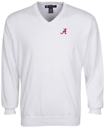 Alabama Sweatshirt (Oxford NCAA Alabama Crimson Tide Herren Solid Vee Neck Sweater, Weiß, Größe M)