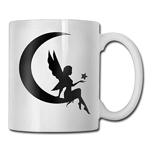 Fgrygf Tea Milk Cup, Novelty Coffee Mugs, s Novelty Birthday Moon and Fairy Ceramic Tea Cup (Milk Glass Moon)