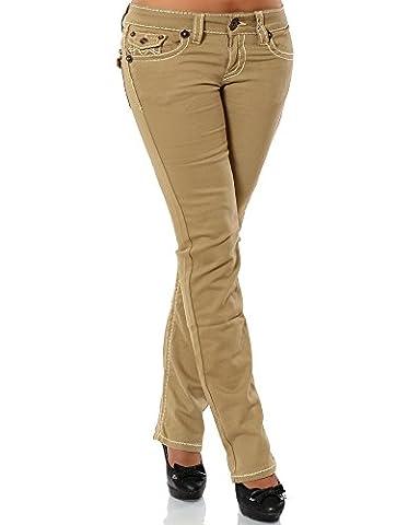 Damen Jeans Straight Leg (Gerades Bein Dicke Nähte Naht weitere Farben) No 12923, Größe:38;Farbe:Camel