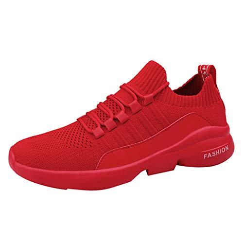Herren Sportschuhe Schnürschuhe Mesh Fitnessschuhe Atmungsaktive Turnschuhe Leichte Sneaker Stoßdämpfende rutschfeste Laufschuhe für Trainning Running Gym Walking Jogging Laufen, Rot, 43 EU