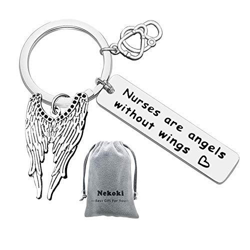 Schlüsselanhänger mit Gravur Adler Anhänger Nurses Are Angels Without Wing Metal Keychain Edelstahl Schlüsselanhänger für Krankenschwester,Mitschüler,Tutor Abschluss Geschenk 1 Stück