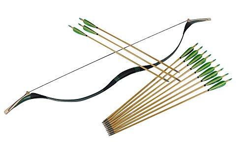 Junze Arco e Frecce in legno (1x arco+12x frecce) tiro con l'arco per adulti-45 Libbree