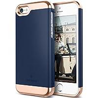 Funda iPhone SE, Caseology® [Serie Savoy] Anti-Arañazos Enchapado de 2 Piezas Gota de Protección [Azul Marino] para Apple iPhone SE / 5S / 5 - Azul Marino