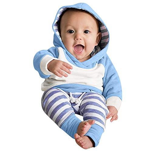 Beikoard_Babykleidung Neugeborene Kleidung 3 Stück Kleinkind Baby Junge Mädchen Kleider Set Lange Hülse Kapuzenpullover Tops Streifen Hose Stirnband Outfits