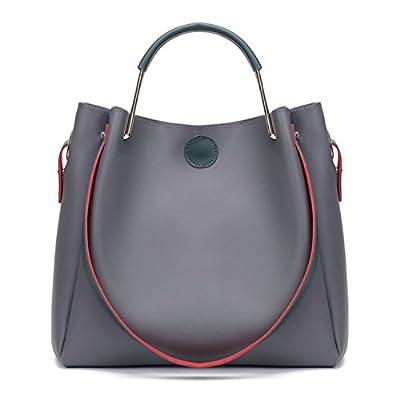 BYD Femme Haute capacité sac de mode en cuir Femme sac à bandoulière de sac à main Cuir anneau métallique à main 2 set