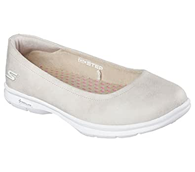 Skechers Womens GOstep Distinguished Ballet Flat, Natural, US 7 M
