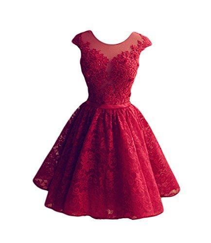 Lovelybride A-Linie Kurze Rote Spitze Homecoming Kleid Perlen Knielänge Abendkleider - Perlen Kurz