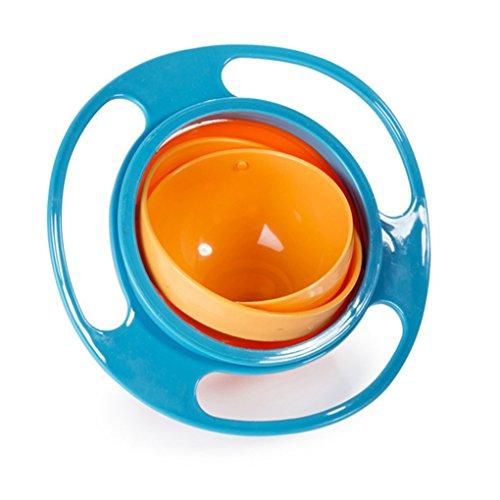 Providethebest Baby-Fleck Proof Bowl Universal-Drehen Bowl Spielzeug Geschirr Infants Kinder Futternapf Baby Zubehör orange+Blue