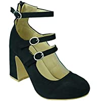BeMeesh Womens Ladies Mary Jane Pumps Closed Toe Shoes High Heels , 6 UK, Black