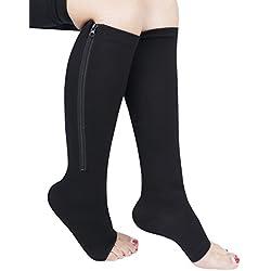 iEFiEL Medias de Compresión para Mujer Chica Calcetines Largos Calentitos con Cremallera Cómodos Negro M