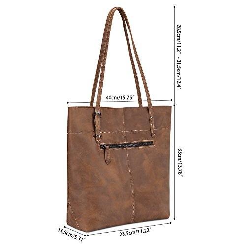 S-ZONE Vintage Crazy Horse Leather Tote Shoulder Bag Handbag Big Large Capacity