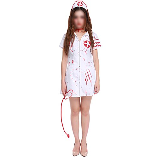 Frauen Halloween Für Costums (Halloween Kostüme Frauen Horror Zombie Bloody Nurse Uniform Performance Cosplay Outfits Weiß)