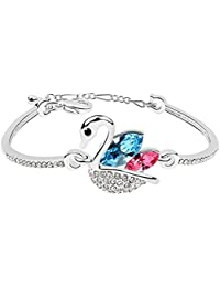 Valentine Gifts : Shining Diva True Love Swan Crystal Bangle Bracelet for Girls and Women | Valentine Gifts for Girlfriend, Wife