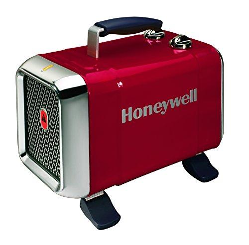elektrisches heizgeblaese Honeywell HZ-510E Keramik-Heizlüfter in rot/Chrom, 1100/1800 Watt breiter Standfuß