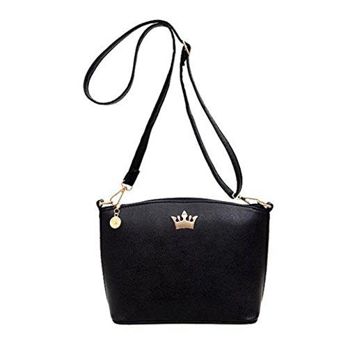 Casuale imperiale corona pu pelle borse partito borsa donne spalla messenger borse di kangrunmy (nero)