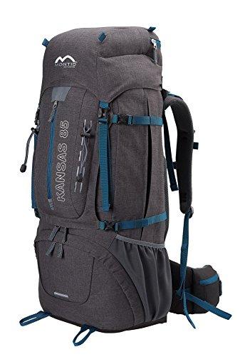 MONTIS KANSAS 85, Trekking- und Wanderrucksack mit Regenschutz, ausreichend Platz für längere Camping Ausflüge, auch geeignet als Backpacker, Touren- und Reiserucksack mit Audio-und Trinkvorbereitung, 85L