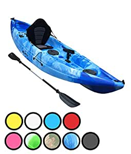 Bluefin Single or Tandem Sit On Top Fishing Kayak  With Rod Holders, Storage Hatches, Padded Seat & Paddle