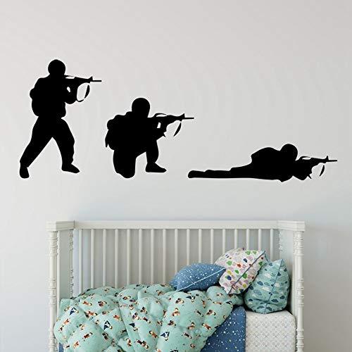 SLQUIET Armée cool soldat soldat stickers muraux fusil sticker guerre industrie garçon chambre décoration murale murale arme militaire décoration murale gris 101x38cm