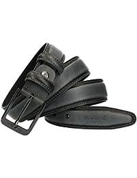 Cinturón hombre PIERRE CARDIN gris cuero con pespuntes MADE IN ITALY b000c7cd63df