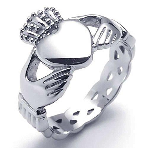 (AnaZoz Edelstahl Ring Silber Irish Celtic Knot Claddagh Königliche König Kronen Liebe Herz Trauring für Damen und Herren)